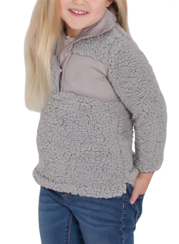 ZESICA Girl's Long Sleeve Stand Buttons Collar Pebble Pile Fleece Sherpa Sweatshirts Pullover