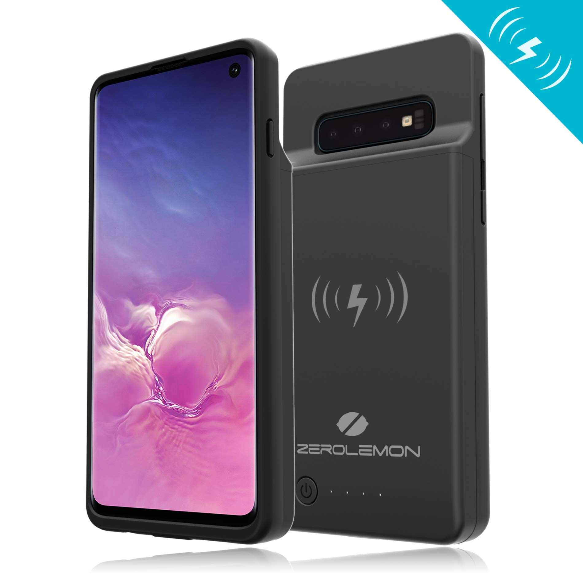 [Upgraded] Galaxy S10 Extended Battery Case with Qi Wireless Charging, ZeroLemon Slim Power 5000mAh Rechargeable Battery Charger with Full Edge Protection for Galaxy S10 - Black by ZEROLEMON