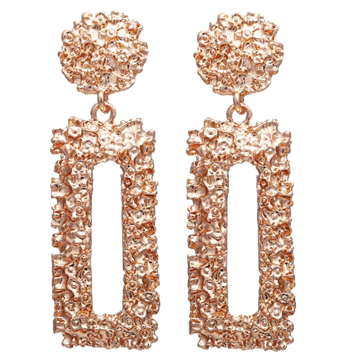 Rectangle Rose Gold Aokarry Vintage Geometric Stud Drop Earrings for Women