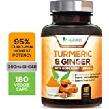 Turmeric Curcumin 95% Curcuminoids with BioPerine and Ginger 1950mg - Black Pepper for Best Absorption, Made in USA, Best Veg