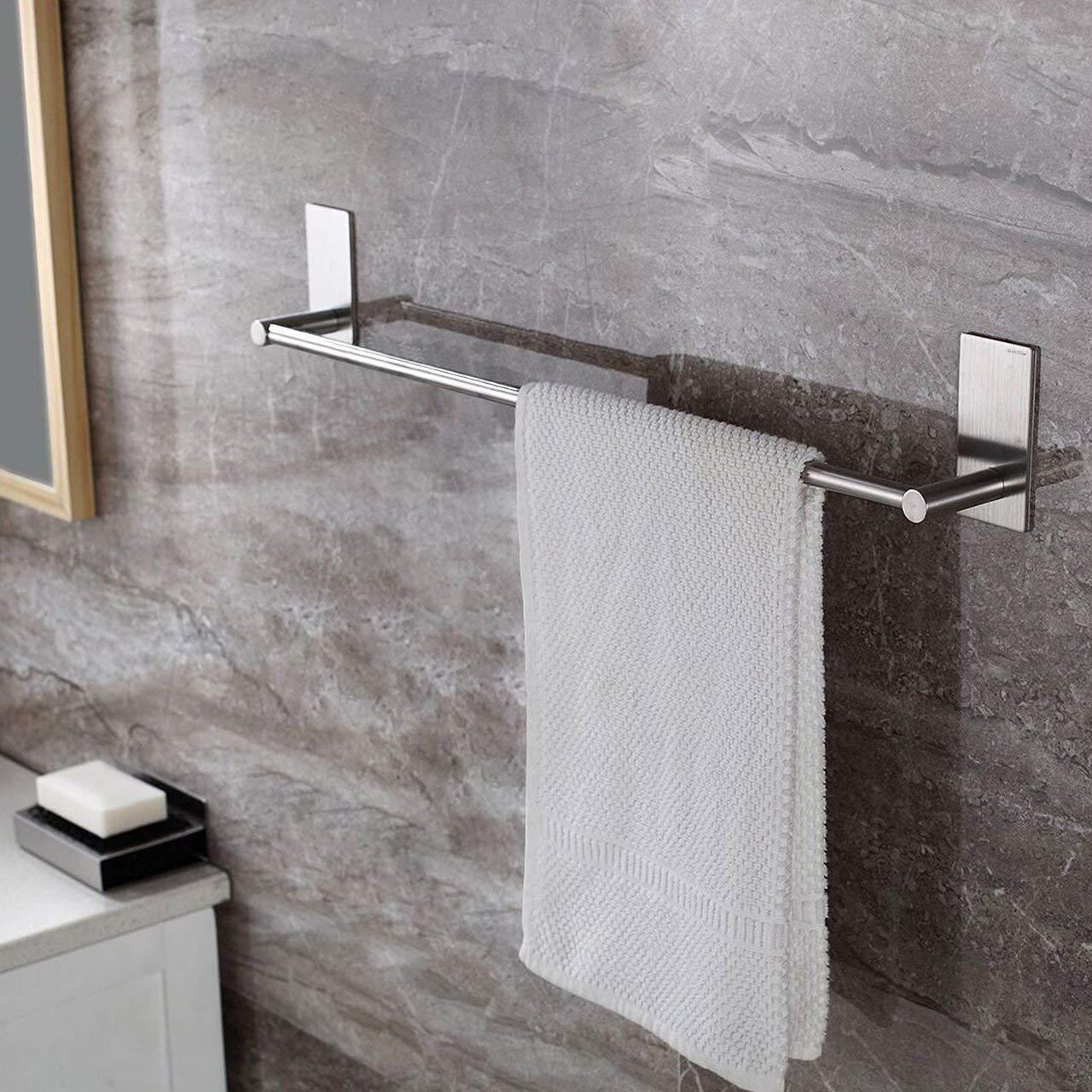 SortWise /® 22 Self Adhesive Wall Mounted Bathroom Towel Bar Brushed Stainless Steel Towel Racks Bath Towel Holder for Bathroom or Kitchen