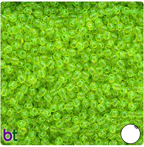 100 Count 4mm /</<Transparent Chartreuse green/>/> round Beads