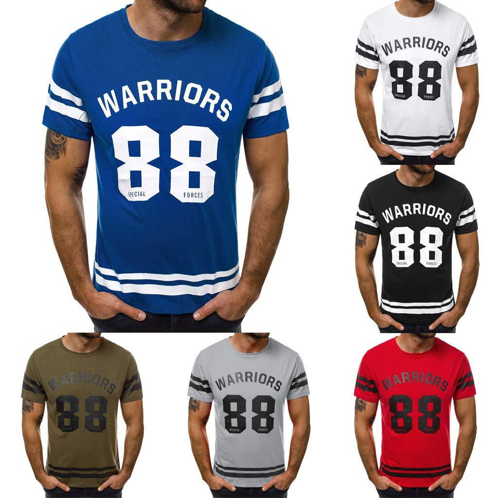 KASAAS T-Shirts for Men Letter Print Stripe O-Neck Tops Short Sleeve Casual Fashion Slim Simple Basic Tee Shirt Blouse