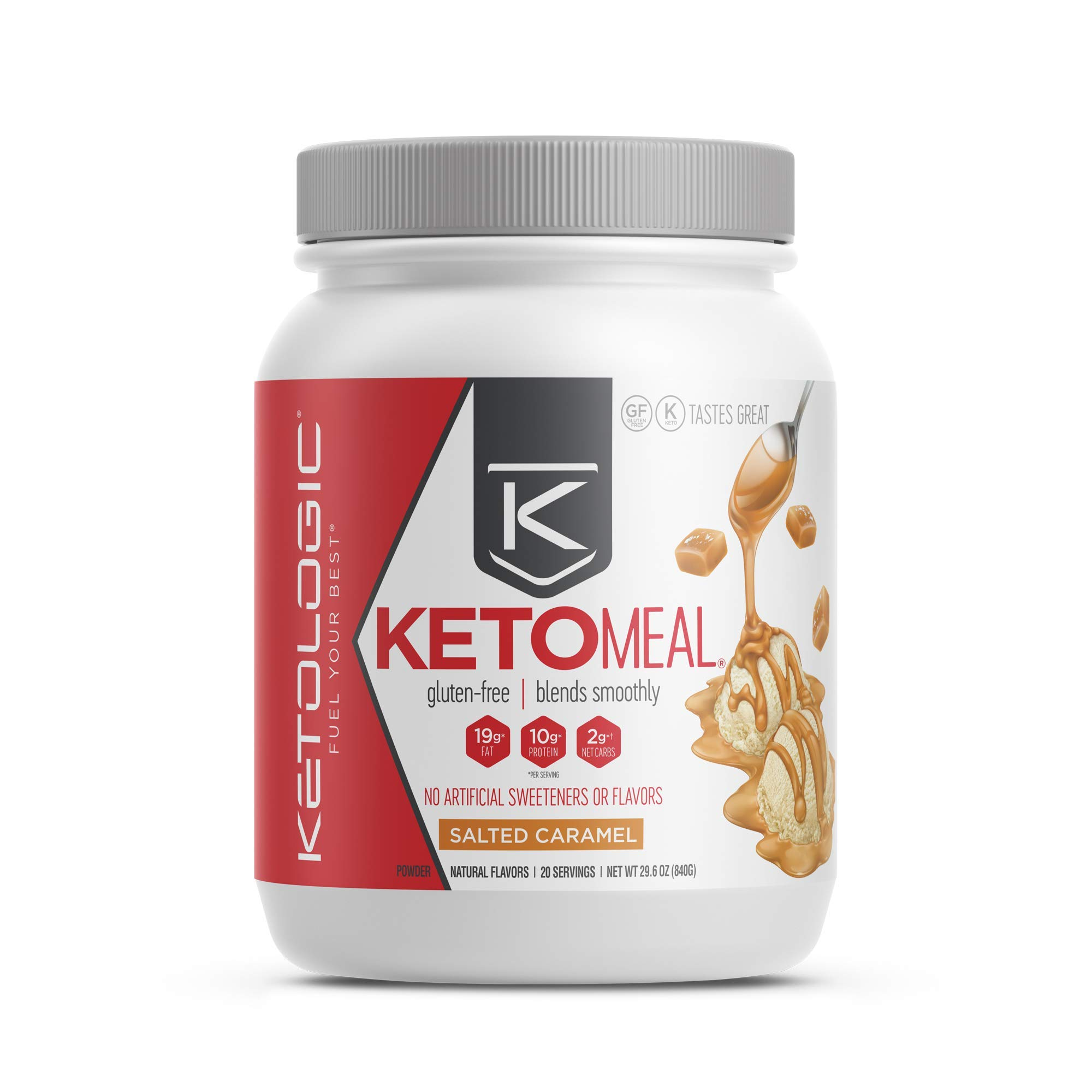 KetoLogic Keto Meal Replacement with MCT, Salted Caramel   Low Carb, High Fat Keto Powder   Promotes Weight Loss & Suppresses Appetite   20 Servings