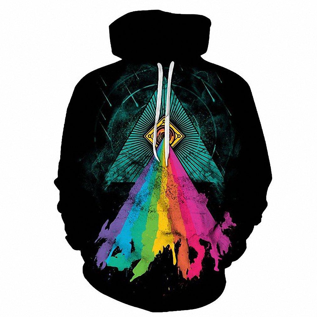 Emlyn Adrian Triangle Colorful Printed Hoodies Men Hooded Pullover Tracksuit Streetwear