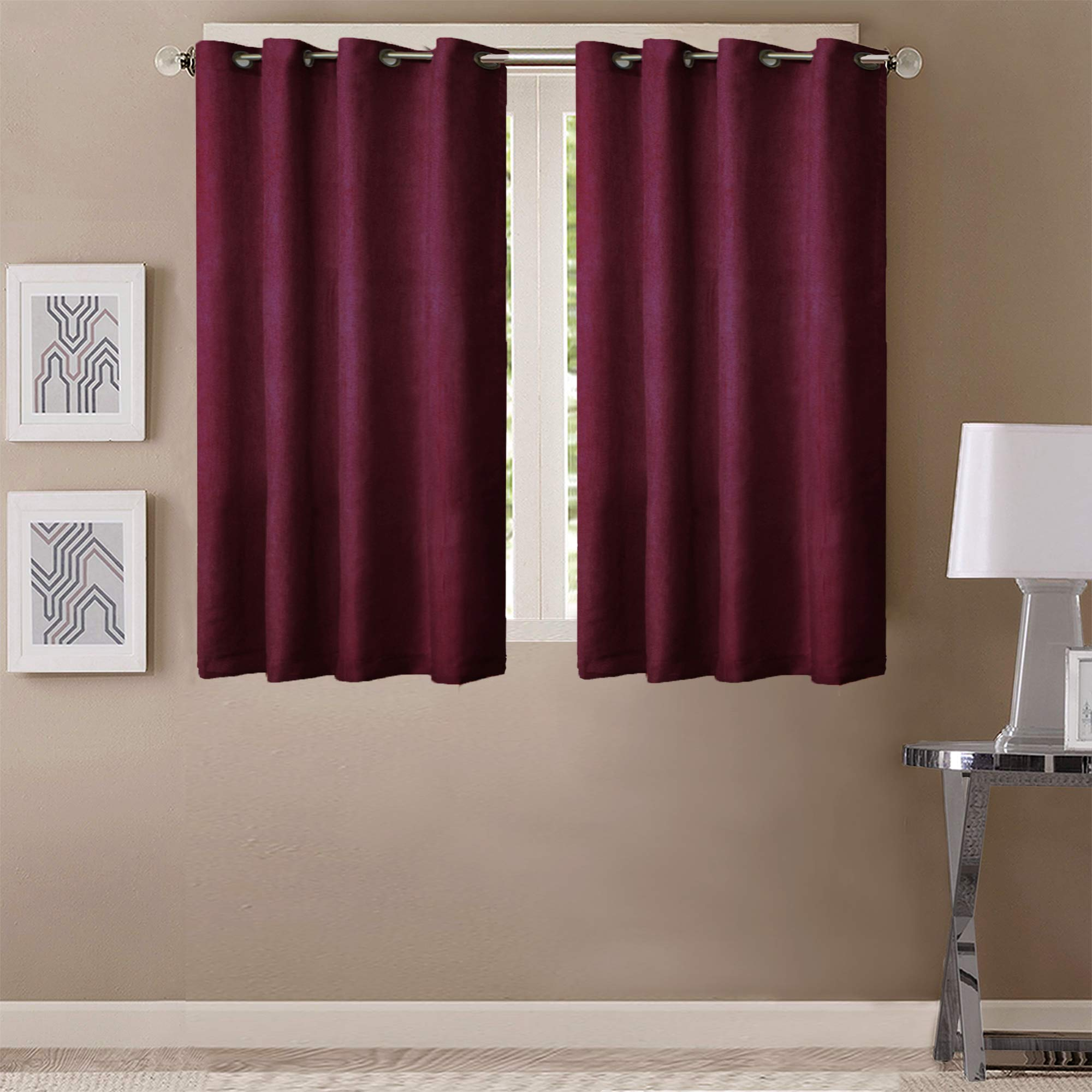 Queenzliving Elegant Solid Crushed Texture Curtain, Window 5 feet- Pack of 2, Maroon (B07YCPDTQJ) Amazon Price History, Amazon Price Tracker