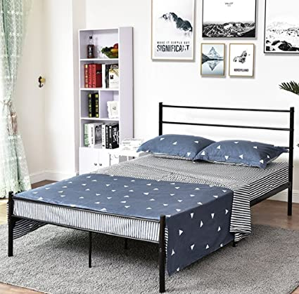 Amazon Com Metal Bed Frame Iron Queen Size Decor Steel Base Legs