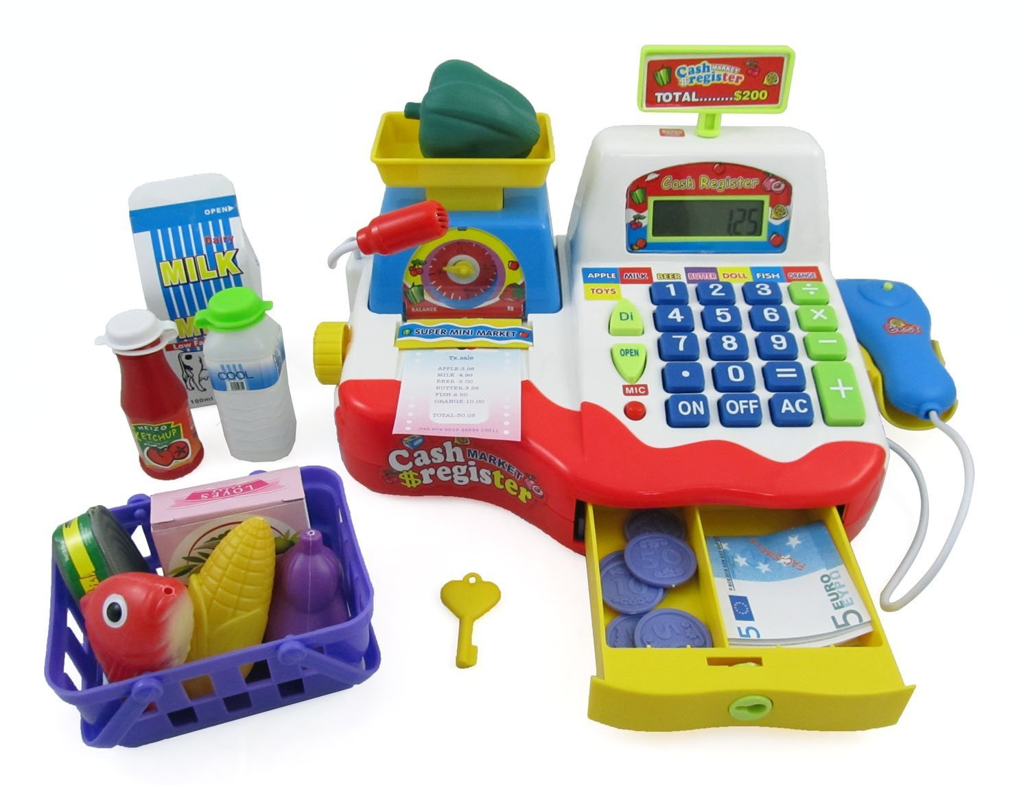 PowerTRC® Supermarket Cash Register with Checkout Scanner, Weight Scale, Microphone, Calculator, Play Money and Food Shopping Playset for kids