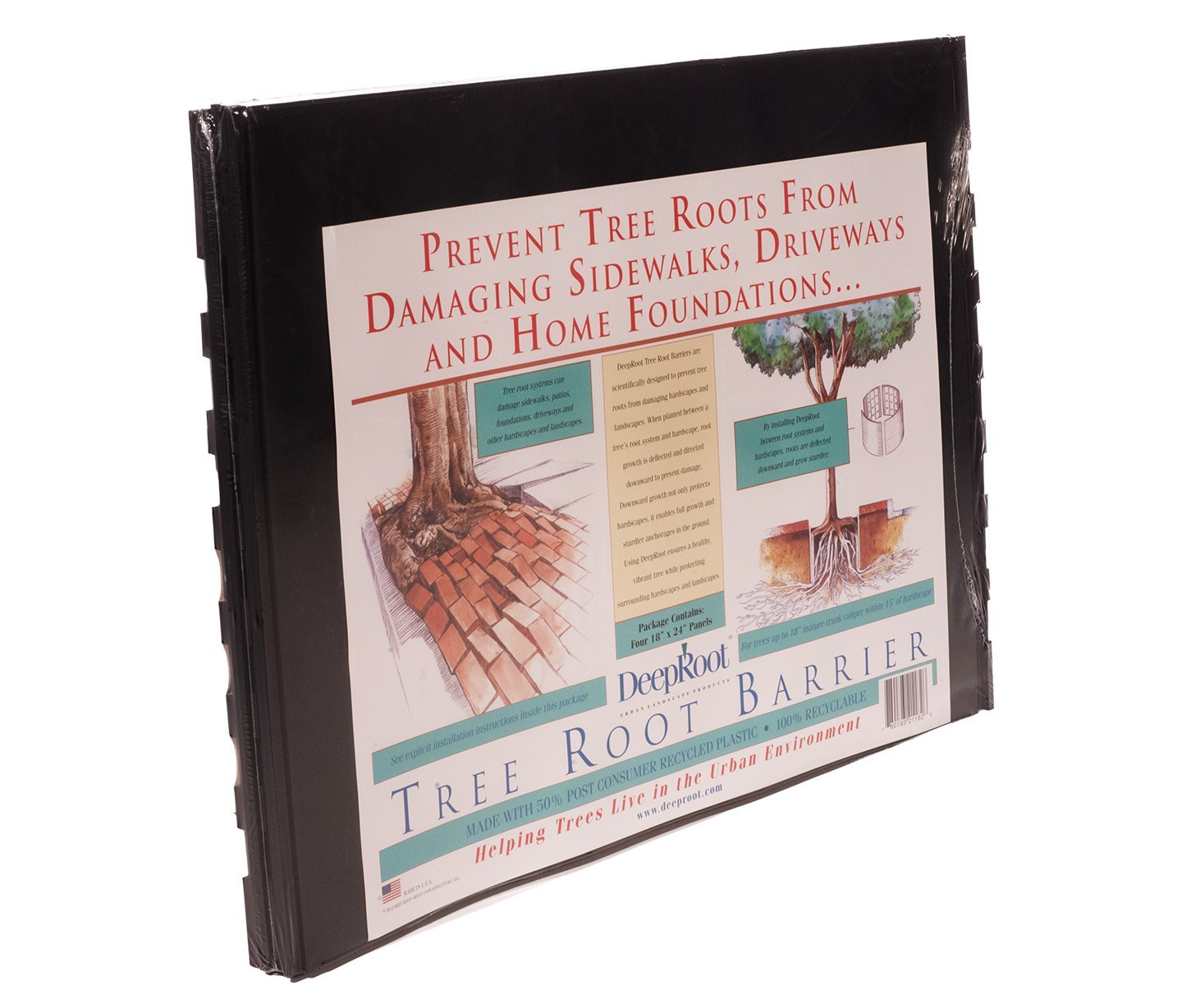 DeepRoot Tree Root Barrier Retail Kit, five (5) 18-inch x 24-inch panels per pack by DeepRoot