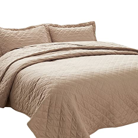 Bedsure 3 Piece Bedding Quilt Set Full/Queen Size 90x96 Taupe Camel Bedspread With 2 Pillow Shams Pattern Soft Microfiber Coverlet Set by Bedsure