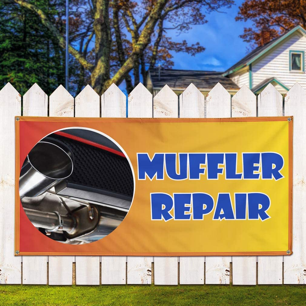 44inx110in One Banner Vinyl Banner Sign Muffler Repair #1 Style F Automotive Marketing Advertising Yellow 8 Grommets Multiple Sizes Available