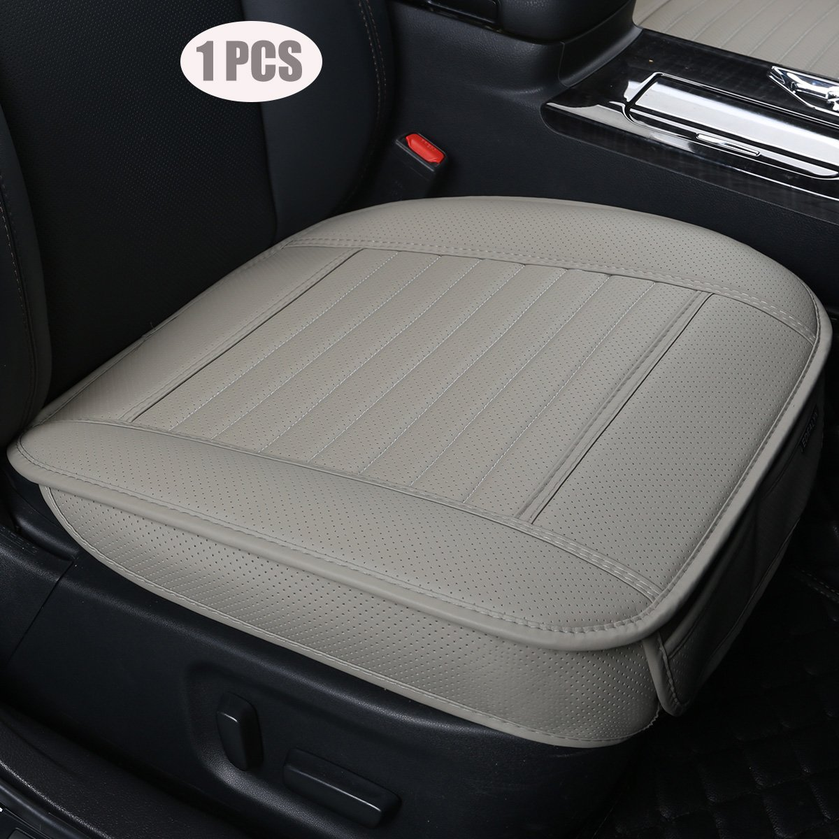 1PCS Gray-3D Backless Seat Cover,Deep 20 inch /× Width 20 inch /× Thick 0.4 inch Car interior Seat Cover PU Leather Without backrest Front Seat Protection Car Seat Cover EDEALYN