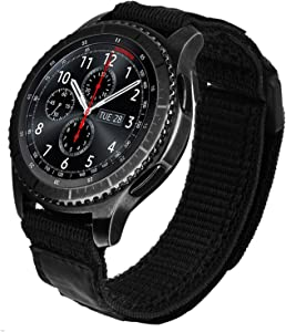 V-MORO Nylon Strap Compatible with Galaxy Watch 46mm Bands/Gear S3 Frontier Band/Galaxy Watch 3 Band Black Men Soft Woven Loop Replacement for Samsung Galaxy Watch3 45mm/Galaxy Watch 46mm/Gear S3 Smartwatch