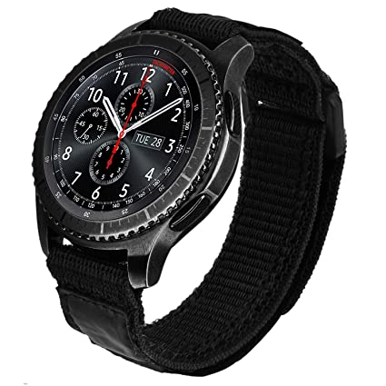 V-MORO Nylon Strap Compatible with Galaxy Watch 46mm Bands/Gear S3 Frontier Band Black Men 22mm Soft Breathable Woven Loop Replacement for Samsung ...