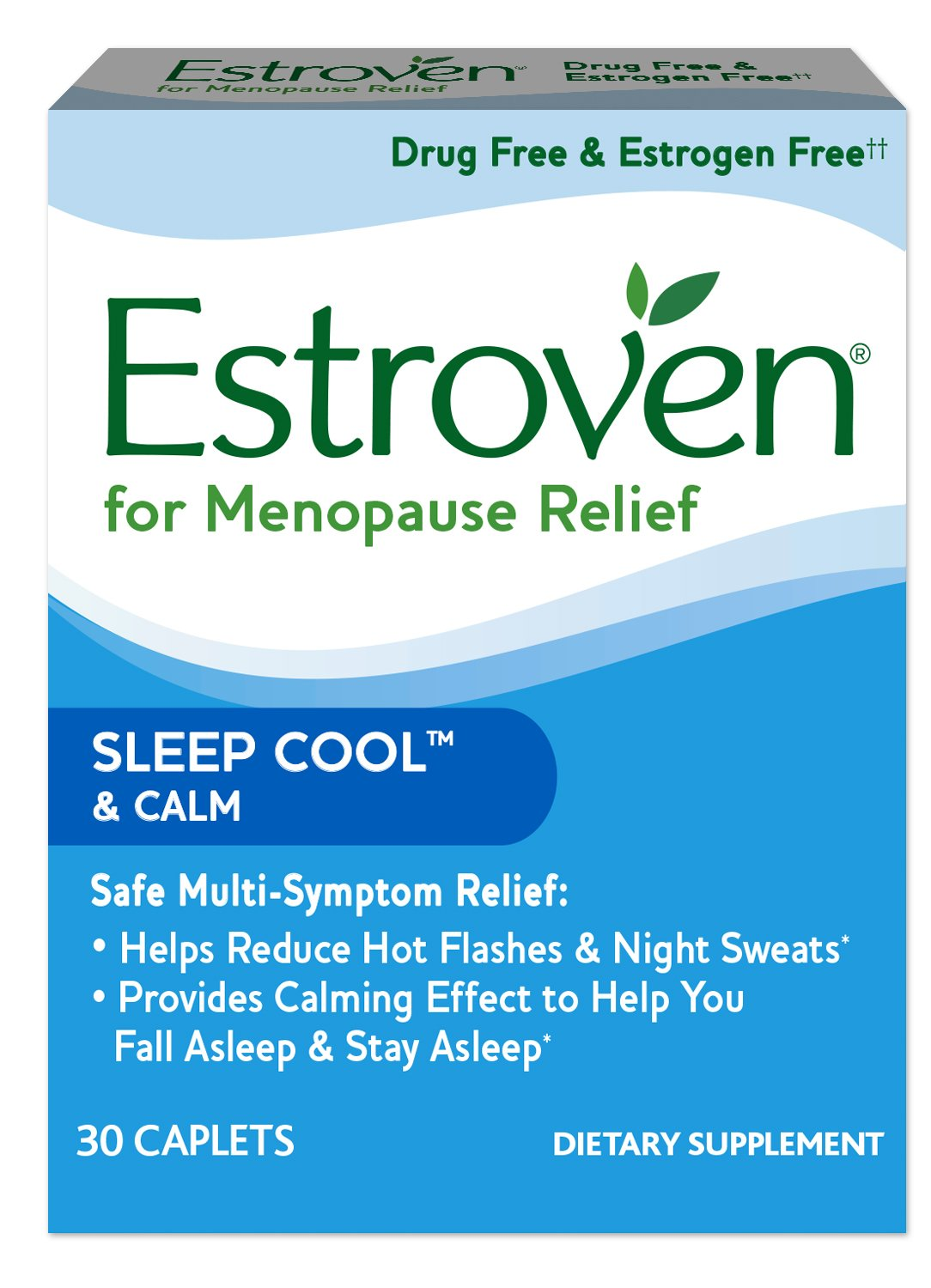 Estroven SLEEP COOL + CALM formulated for Menopause Symptom Relief* - Helps Reduce Hot Flashes and Night Sweats* - Provides Calming Effect to Help You Fall Sleep and Stay Asleep* - 30 Caplets