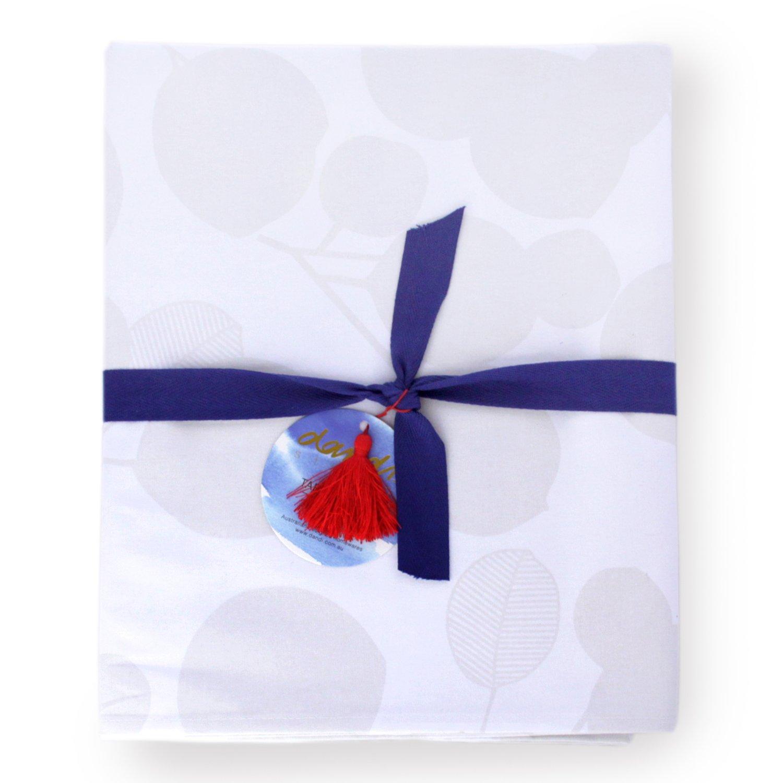 Dandi 6 Seater Oilcloth Tablecloth, Eucalyptus, Snow White