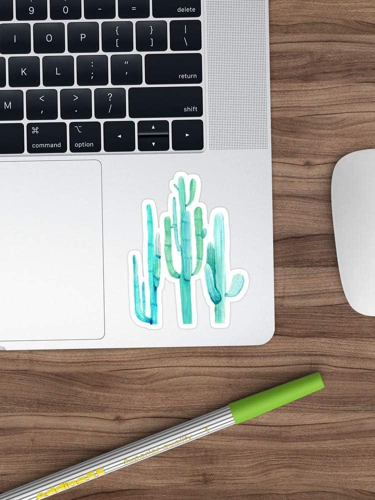 Water Bottle Trucks Fridge Pretty Cactus Turquoise Desert Cacti Wall Art Three Amigos Sticker Vinyl Decal for Cars Longest Side 4 Laptops
