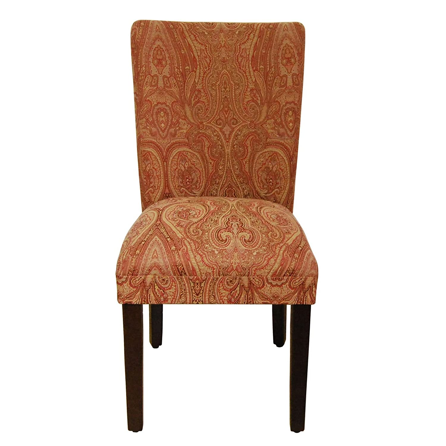 HomePop Parsons Classic Upholstered Accent Dining Chair,Single Pack, Red Damask