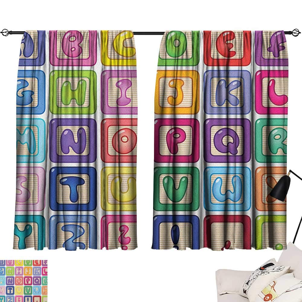 Pattern23 W63  x L72  Beihai1Sun Kids Activity Indoor Darkening Curtains Cartoon Style Road with a Variety of Vehicles Buses Cars and Trucks Driving Curtain for Bedroom Multicolor W63 x L45