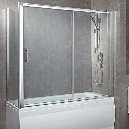 1800 mm (W) X 800 mm (D) más de mampara de baño de lujo con sola puerta corredera (8 mm de vidrio de seguridad templado): Amazon.es: Hogar