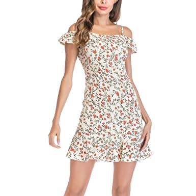 5733c05aa1b Image Unavailable. Image not available for. Color  Womens Dresses Summer Floral  Ruffles Dress Off Shoulder ...