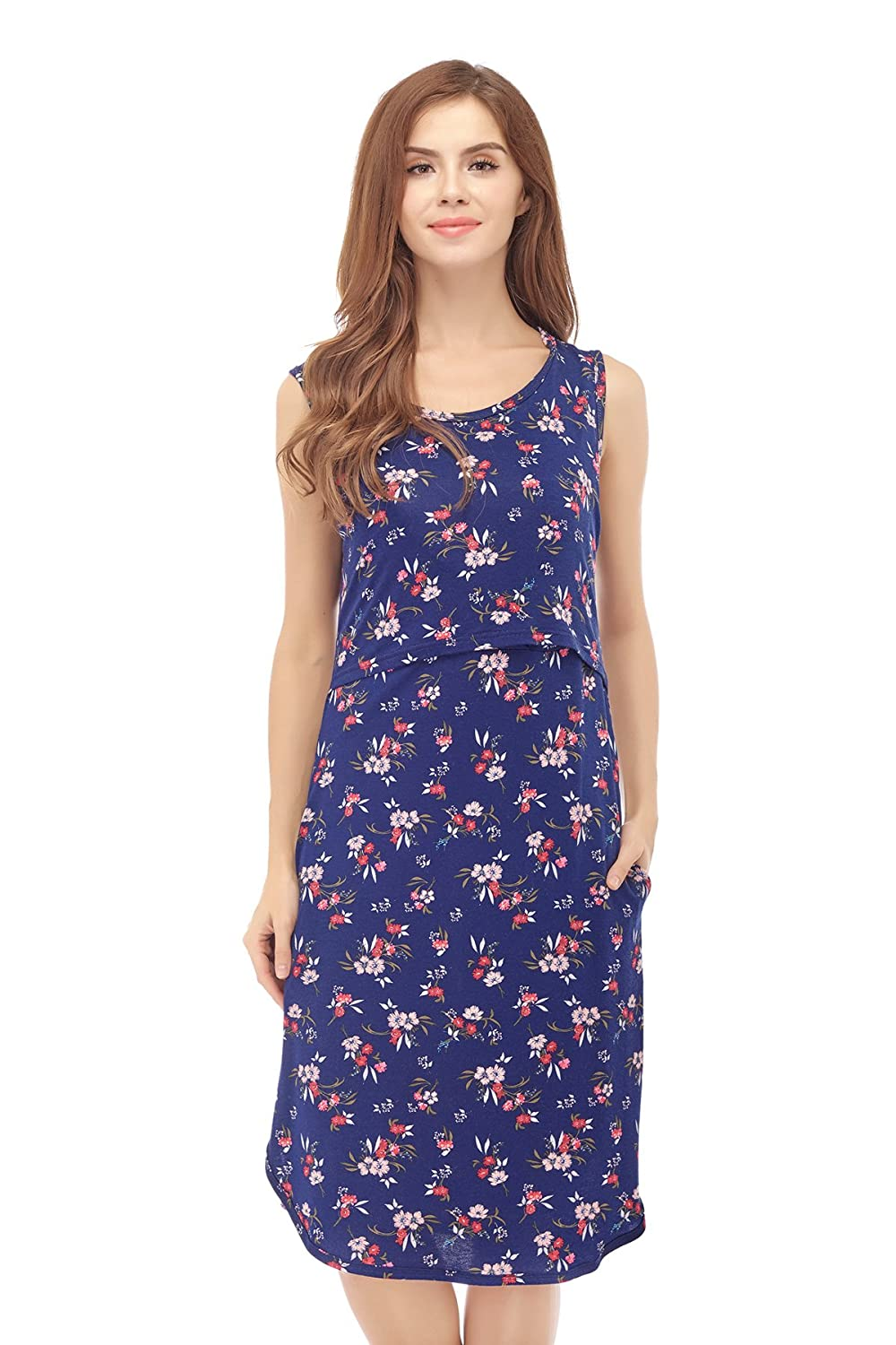Bearsland Women's Maternity Summer Flower Breastfeeding Nursing Dresses
