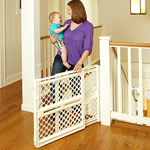Ergo Pressure or Hardware Mount Plastic Gate, Ivory, Fits Spaces between 26