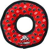 Tuffy Ultimate Ring Dog Toy, Paws, Red