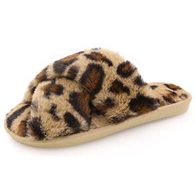 Womens Fuzzy Slippers Sandals Leopard Plush Open Toe Faux Fur Fluffy House Flats Slippers Cross Band Soft Warm Comfy Cozy Bedroom Slide Slippers | Slippers