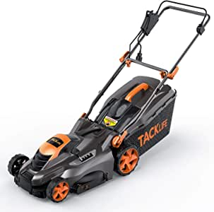 TACKLIFE Electric Lawn Mower, 16-Inch / 13-Amp Lawn Mower, 5 Adjustable Mower Heights, Adjustable and Foldable Handlebars, Low Noise, Tool-Free Assembly, 13.2Gal Grass Box - KALM1540A