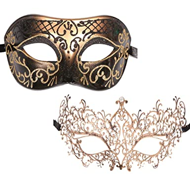 c81a974e4790 Xvevina Luxury Masquerade Mask 2 Packs Venetian Party Mask Couples (Antique  Classic Couple)