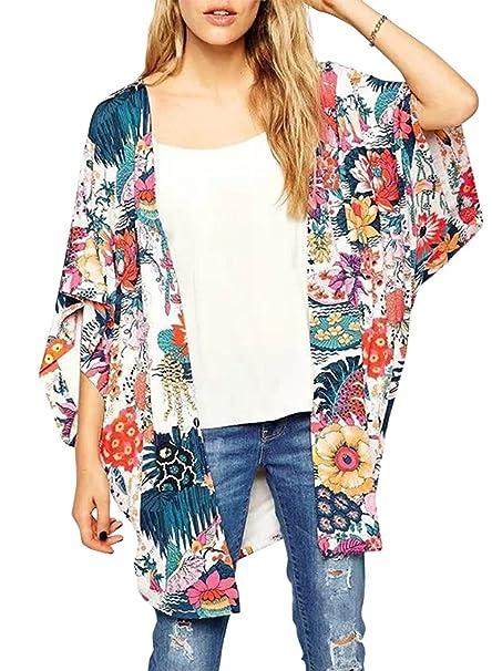 8a352ebdbf430 Phoenix Women Chiffon Boho Floral Print Kimono Cover Up Beach Wear at  Amazon Women's Clothing store: