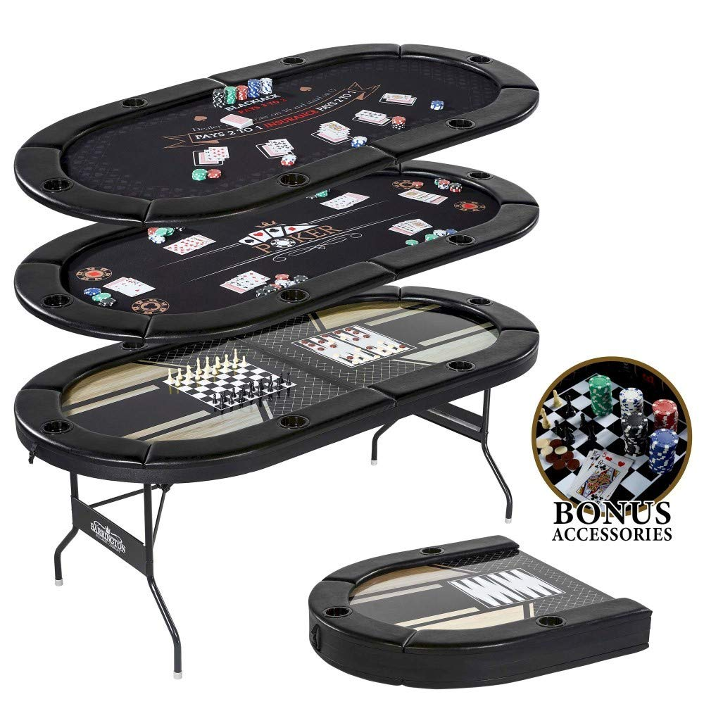 Compact Size and Portability with 6 Players 5 in-1 Multi-Game Poker Table, Blackjack, Poker, Checker, Chess, and Backgammon by Snow Shop Everything