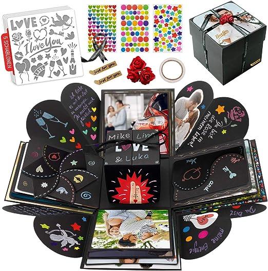 Intrend Explosionsbox I Geschenk Diy Foto Box Set I 5 Themen Schablonen Personalisierte überraschungsbox I Geburtstag Hochzeit Valentinstag