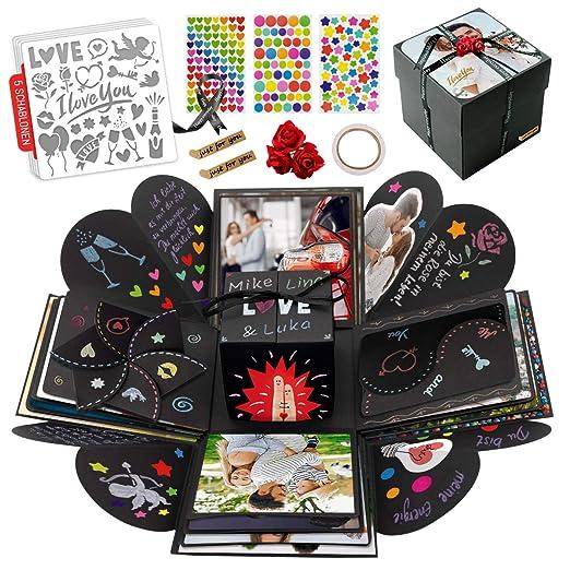int!rend Caja de regalo | Caja de sorpresa personalizada, 5 plantillas con diferentes temas, fotos para cumpleaños, boda, San Valentín, álbum de fotos ...