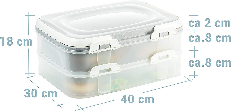 Kuchenbeh/älter 2 Etagen Clickverschl/üssen und Tragegriffen Made in EU Fb. 2x7 Liter Partycontainer mit praktischem Hebeeinsatz Ma/ße 40 x 30 x 18 cm=ca 2friends Kuchen-Transportbox