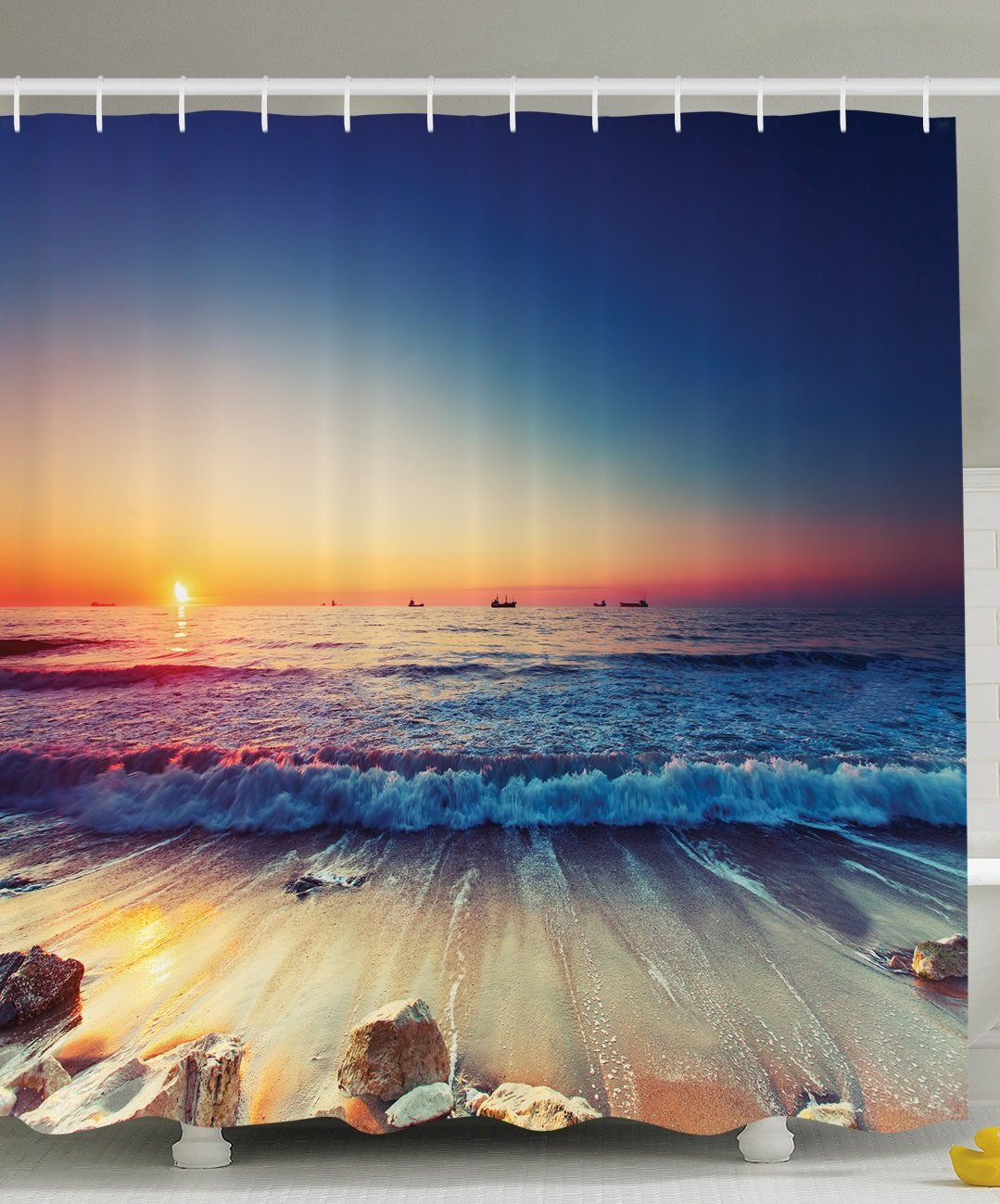Ambesonne Nautical Decor Ocean Sunset Scenery Pictures Waves, Polyester Fabric Bathroom Shower Curtain Set with Hooks