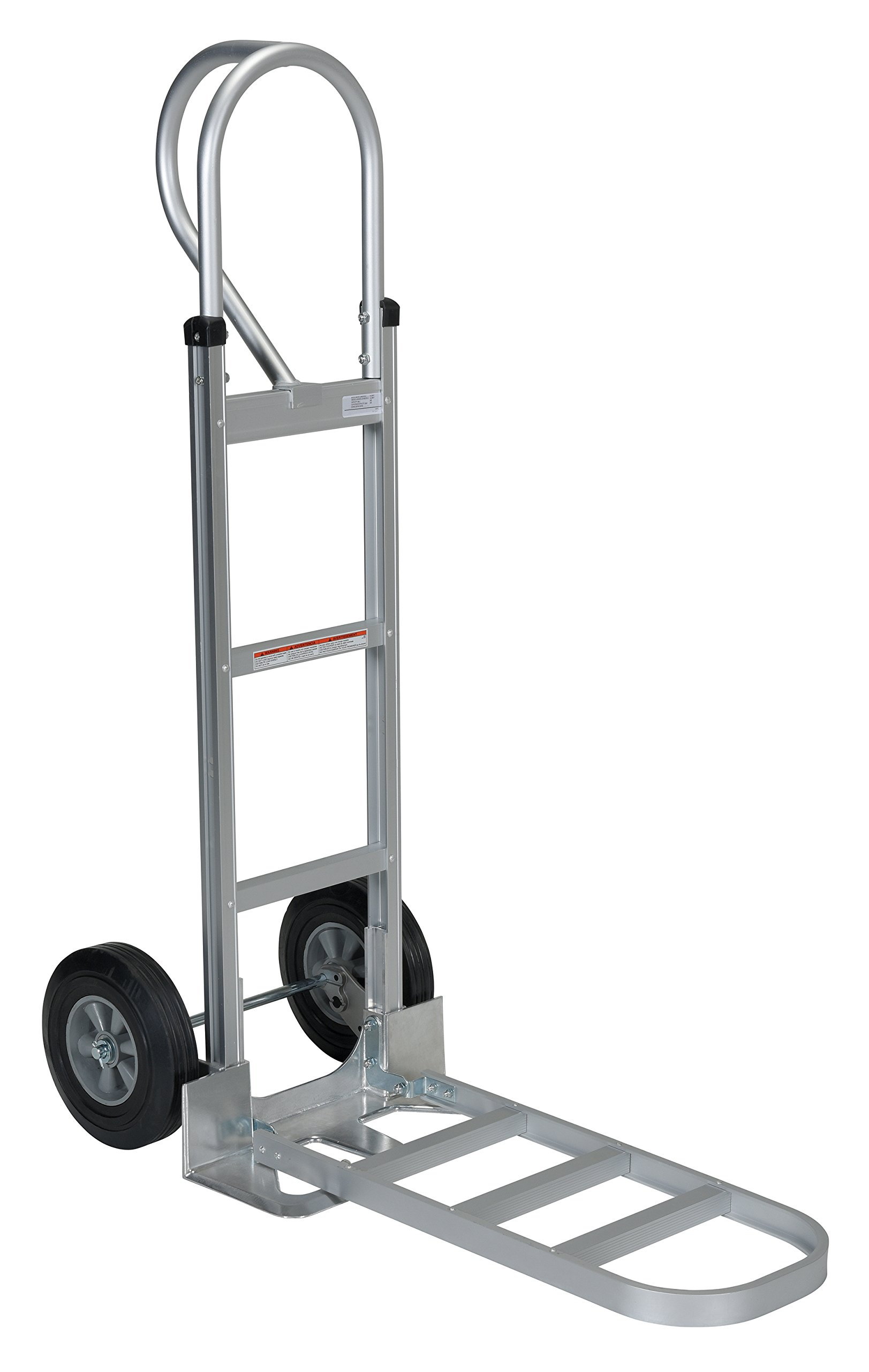 Vestil APHT-500A-HR Aluminum Hand Truck with P Handle, Rubber Wheels, 500 lbs Load Capacity, 50-1/2'' Height, 20'' Width X 19'' Depth