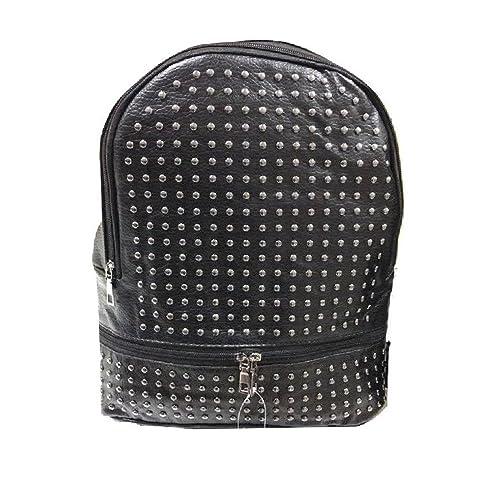3a7779febc Zaino zainetto nero ecopelle simil pelle borchie borchiato metallo zip  frontale tasca cerniera casual vintage retro