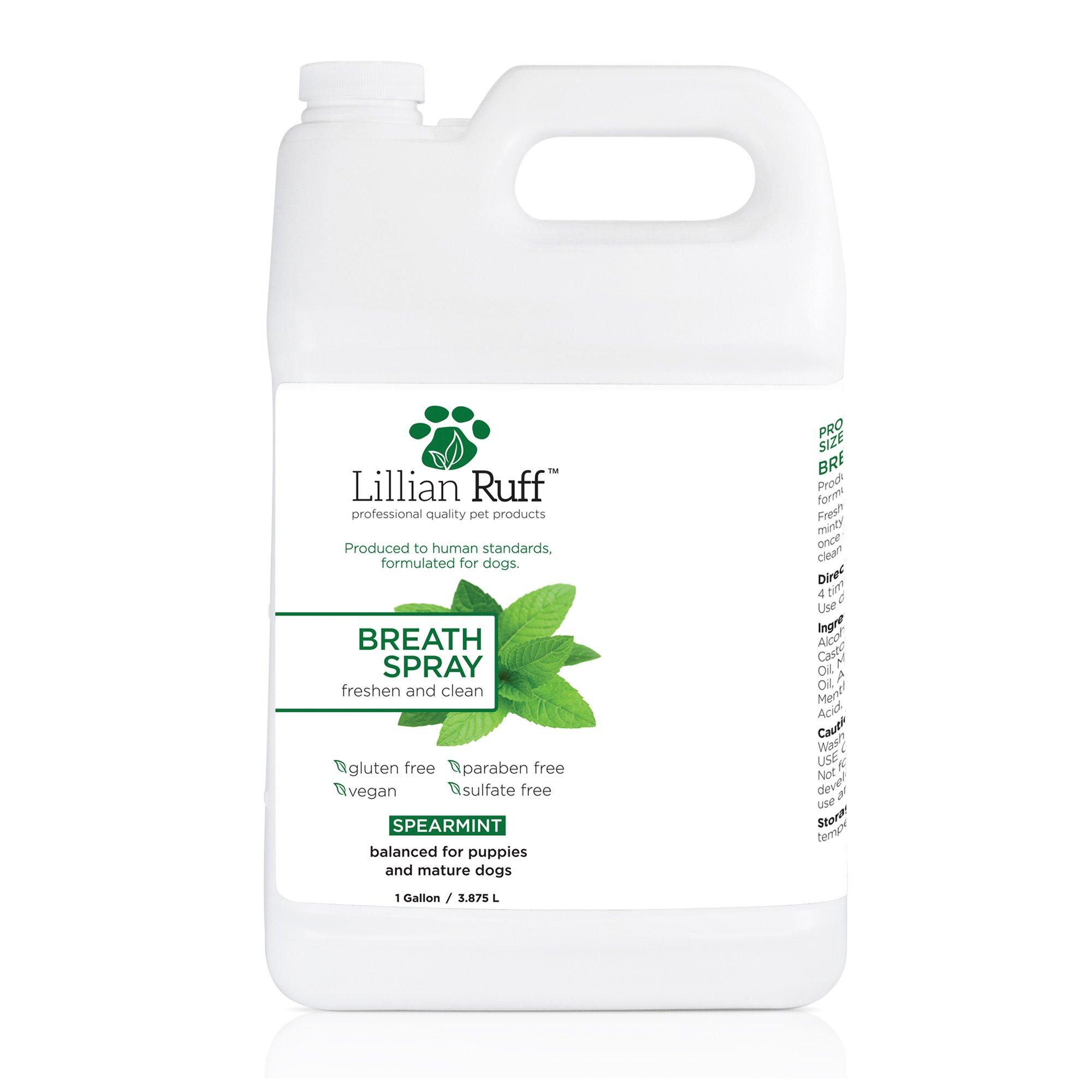 Lillian Ruff Dog Breath Freshener Spray - Spearmint Flavor - Safe for Cats - Fight Bad Breath, Dental Plaque and Tartar - Boost Immune System (Gallon) by Lillian Ruff