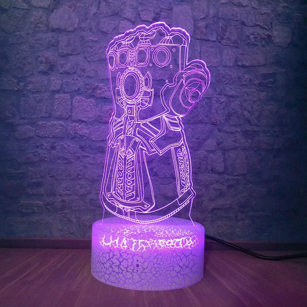 Big Villain Thanos Infinity Gauntlet Avengers Infinity War Thanos Gloves 3D Night Lights LED Colorful Changing Illusion Mood Light Creative Desk lamp Kid New Year Christmas Teen Room Decor