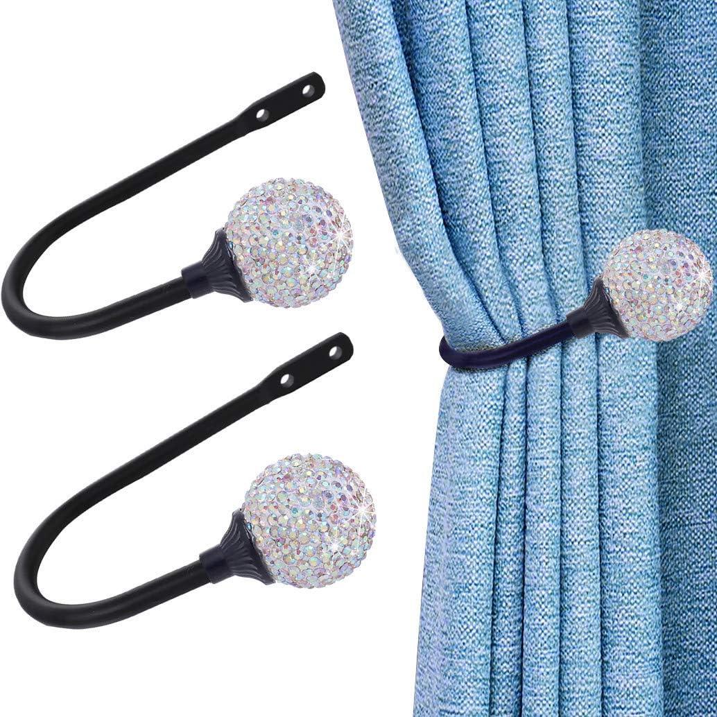 para cortinas juego de 2 Abrazaderas de cortina de diamantes ganchos de bola de diamante con tornillos con forma de U