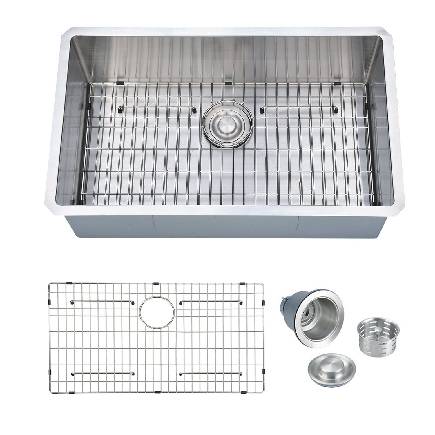PRIMART Handcrafted 30'' Inch Single Bowl Stainless Steel Undermount 16 Gauge Kitchen Sink With Bottom Grid by PRIMART