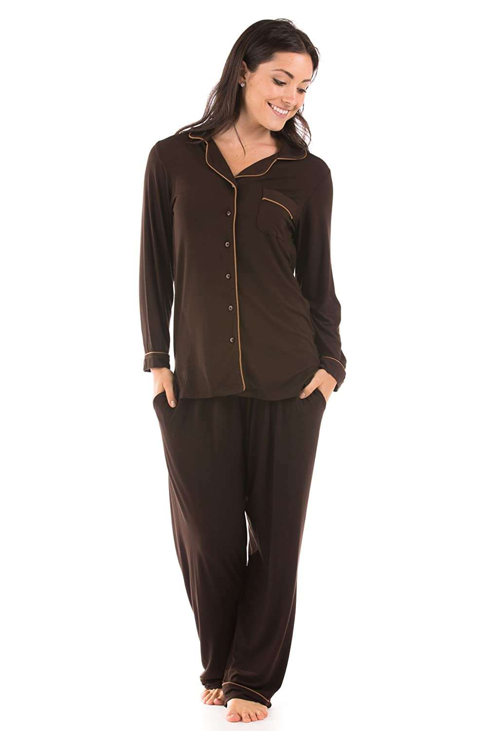 Chocolate Women's ButtonUp Sleepwear Set (Classic Comfort) EcoFriendly Gifts by Texere