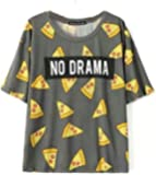 Vadim Women's Tops Pizza Letters Print T shirt Cute Cake Short Sleeve/Long Sleeve