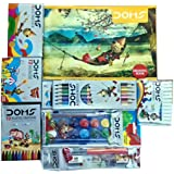 Doms Drawing Book with 12 Shade Water Colour Cakes, Bicolour Pencils, Oil Pastels, Extra Long Wax Crayons, Glitters, Pencil Kit
