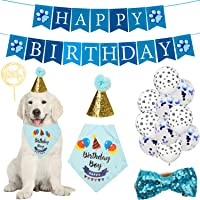 Dog Birthday Bandana Supplies Dog Birthday Party Decorations Favors Set with Dog Birthday Hat,Bow Tie and Cake Topper…