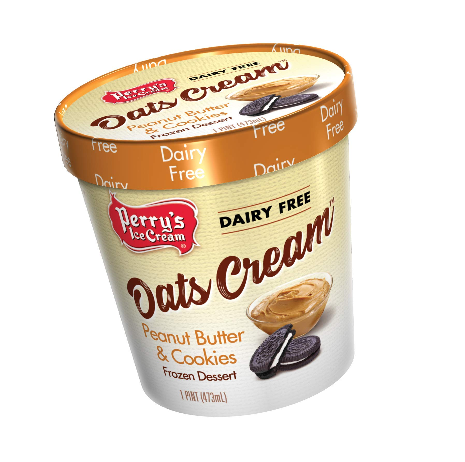 Perry's Ice Cream, Pint, Oats Cream, Peanut Butter & Cookies - Pack of 8 by Perry's Ice Cream (Image #1)