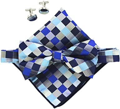 Mens Self Tie Bow Ties Red Black White Plaid Free Style Bowtie With Matching Pocket Square Option