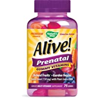 Nature's Way Alive! Prenatal Premium Gummy Multivitamin with DHA, Fruit and Veggie Blend (150mg per Serving), Full B Vitamin Complex, Gluten Free, Made with Pectin, 75 Gummies
